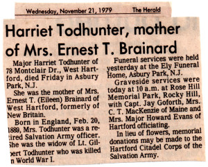 130207 32 cutting from New Britain Herald about Harriet's death edited